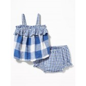 Ruffle-Trim Gingham Top & Bloomers Set for Baby