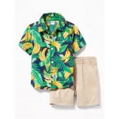 Fruit-Print Shirt & Pull-On Shorts Set for Baby