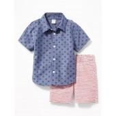 Star-Print Shirt & Striped Shorts Set for Baby