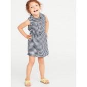 Sleeveless Gingham Shirt Dress for Toddler Girls