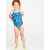 Diagonal-Ruffle Swimsuit for Toddler Girls