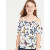 Smocked Off-the-Shoulder Butterfly-Print Swing Top for Girls