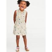 Sleeveless Floral Shirt Dress for Toddler Girls