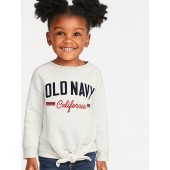 Relaxed Logo-Graphic Tie-Front Sweatshirt for Toddler Girls