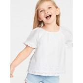 Ruffle-Sleeve Cutwork Top for Toddler Girls
