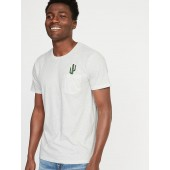 Soft-Washed Embroidered-Graphic Pocket Tee for Men