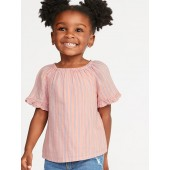 Striped Ruffle-Trim Swing Top for Toddler Girls