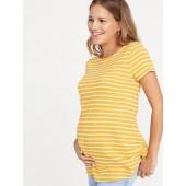 Maternity Slub-Knit Mariner-Stripe Tunic Tee
