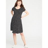 Maternity Printed Ponte-Knit Fit & Flare Dress