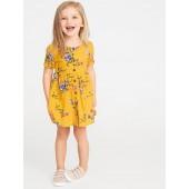 Waist-Defined Shirt Dress for Toddler Girls