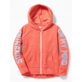Graphic Slub-Knit Zip Hoodie for Girls