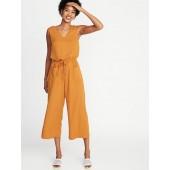 Waist-Defined Sleeveless V-Neck Jumpsuit for Women