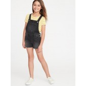 Black Denim Shortalls for Girls