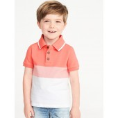 Built-In Flex Color-Blocked Pique Polo for Toddler & Baby