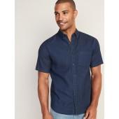 Regular-Fit Built-In Flex Chambray Shirt for Men
