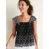 Square-Neck Embroidered Top for Women