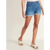 High-Rise Secret-Slim Pockets Button-Fly Denim Shorts for Women - 3-inch inseam