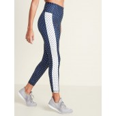 High-Rise Mesh-Panel 7/8-Length Elevate Compression Leggings for Women