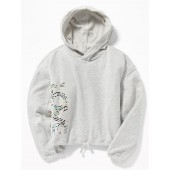 Relaxed Graphic Cinched-Hem Hoodie for Girls