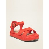 Faux-Suede Cross-Strap Sandals For Toddler Girls