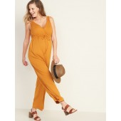 Sleeveless Maternity Wrap-Front Jumpsuit