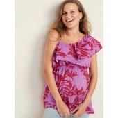 Maternity Ruffle-Trim One-Shoulder Top