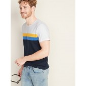 Soft-Washed Color-Blocked Chest-Stripe Tee for Men