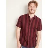 Slim-Fit Linen-Blend Dobby-Stripe Shirt for Men