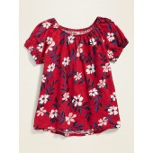 Printed Slub-Knit Bubble-Sleeve Top for Girls