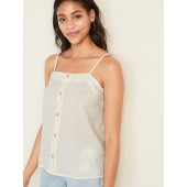 Linen-Blend Button-Front Cami for Women