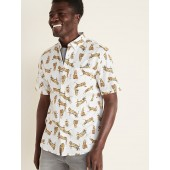 Slim-Fit Built-In Flex Printed Everyday Shirt for Men