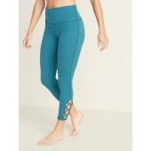 High-Rise 7/8-Length Lattice-Hem Balance Yoga Leggings for Women