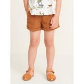 Linen-Blend Utility Shorts for Toddler Girls