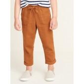 Linen-Blend Utility Pants for Toddler Girls