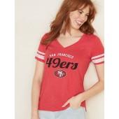 NFL® Team Sleeve-Stripe V-Neck Tee for Women