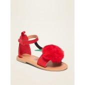 Faux-Suede Cherry Pom-Pom Sandals For Toddler Girls