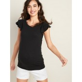 Maternity Fitted Ruffle-Sleeve Top