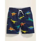 Dino-Print Functional Drawstring Swim Trunks for Toddler Boys