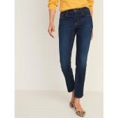 Mid-Rise Dark-Wash Power Slim Straight Jeans for Women