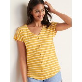 Striped Button-Front V-Neck Henley for Women
