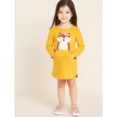 Fox-Critter Sweatshirt Dress for Toddler Girls