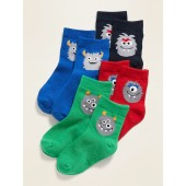 Unisex 4-Pack Monster Critter Socks for Toddler & Baby