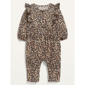 Printed Long-Sleeve Ruffle-Trim Jumpsuit for Baby