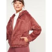 Loose Cozy Sherpa Crop Hoodie for Women