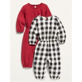 Long-Sleeve Jersey Jumpsuit 2-Pack for Baby