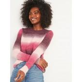 Cozy Ombré-Stripe Crew-Neck Sweater for Women