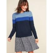 Cozy Color-Blocked Crew-Neck Sweater for Women