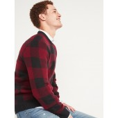 Cozy Plaid Crew-Neck Sweater for Men