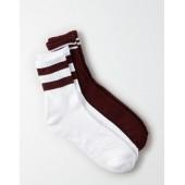 AEO Burgundy Crew Socks 2-Pack