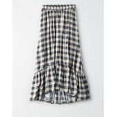 AE High-Waisted Plaid Midi Skirt